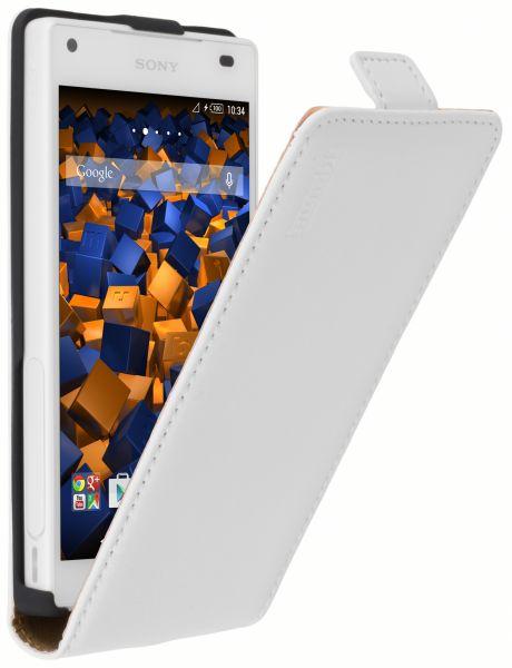 Flip Case Ledertasche weiß für Sony Xperia Z5 Compact