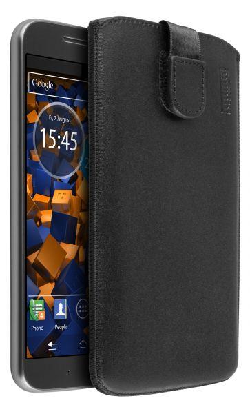 Leder Etui Tasche mit Ausziehlasche schwarz für Motorola Moto G4 / G4 Plus