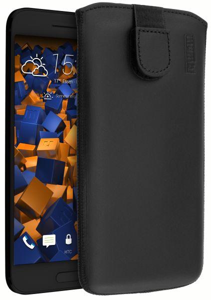 Leder Etui Tasche mit Ausziehlasche schwarz für HTC 10