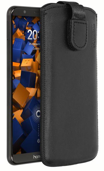 Leder Etui Tasche mit Ausziehlasche schwarz für Huawei Honor 7X
