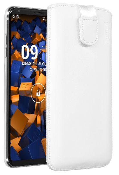 Leder Etui Tasche mit Ausziehlasche weiß für LG V30 / V30S ThinQ