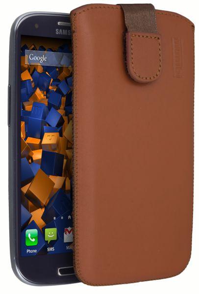 Leder Etui Tasche mit Ausziehhilfe cognac für Samsung Galaxy S3 / S3 Neo