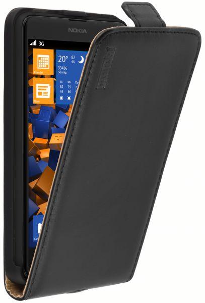 Flip Case Ledertasche schwarz für Nokia Lumia 625