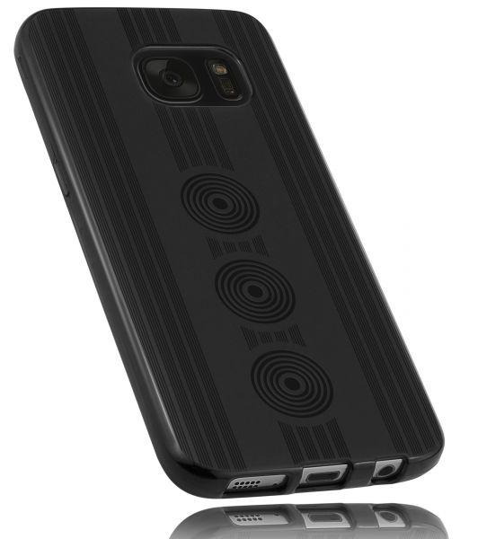 TPU Hülle schwarz Motiv Kreise für Samsung Galaxy S7