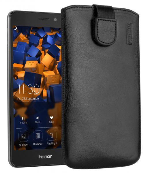 Leder Etui Tasche mit Ausziehlasche schwarz für Huawei Honor 5C