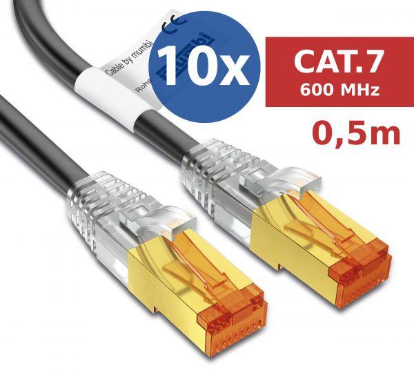 10er Set CAT 7 Rohkabel mit RJ45 Steckern Netzwerkkabel 0,5 Meter Kabel in Schwarz
