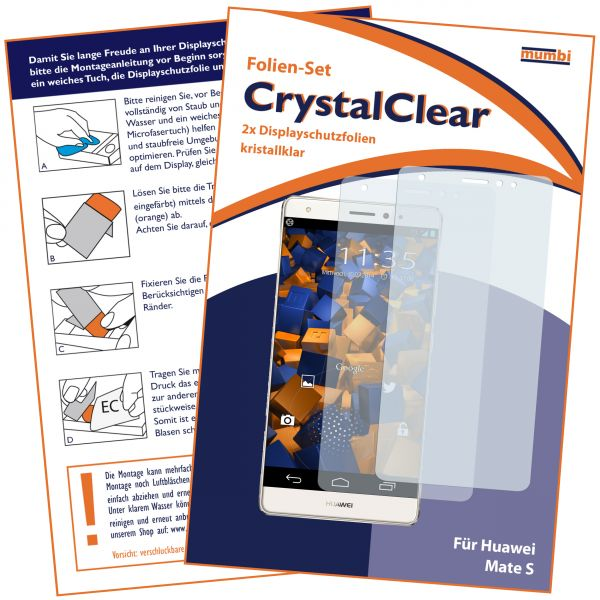 Displayschutzfolie 2 Stck. CrystalClear für Huawei Mate S