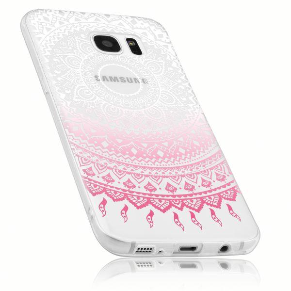 TPU Hülle transparent weiß rosa Motiv Mandala für Samsung Galaxy S7