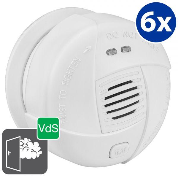 Mini-Rauchmelder RM250 Melder mit VdS Zulassung 6 Stck. geprüft nach DIN EN 14604