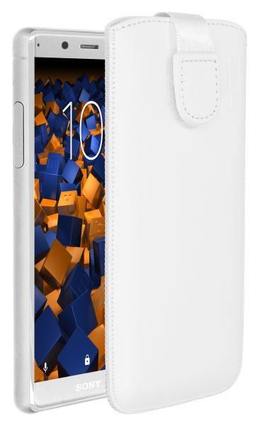 Leder Etui Tasche mit Ausziehlasche weiß für Sony Xperia XZ2 Compact