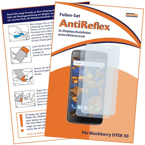 Displayschutzfolie 2 Stck. AntiReflex für Blackberry DTEK50