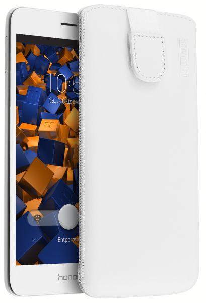 Leder Etui Tasche mit Ausziehlasche weiß für Huawei Honor 5C