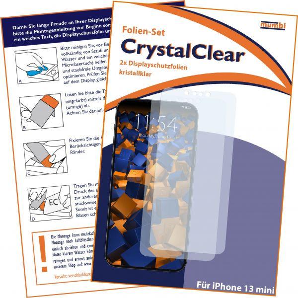 Displayschutzfolie 2 Stck CrystalClear für Apple iPhone 13 mini