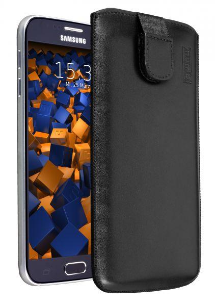 Leder Etui Tasche mit Ausziehlasche schwarz für Samsung Galaxy S6 / S6 Duos