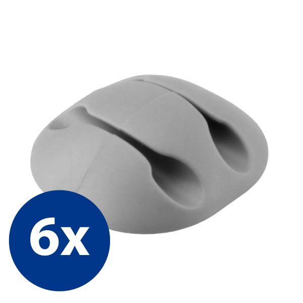 Kabelführung 2-fach 6 Stck. in Grau für Kabel bis 3mm