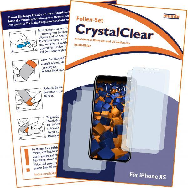 Displayschutzfolie 4 Stck. CrystalClear für Apple iPhone XS (2x vorne und 2x hinten)