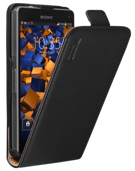Flip Case Ledertasche schwarz für Sony Xperia Z3 Compact