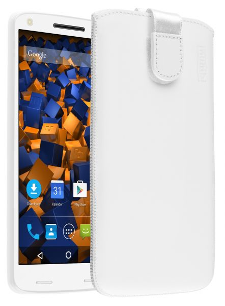 Leder Etui Tasche mit Ausziehlasche weiß für Motorola Moto X Force