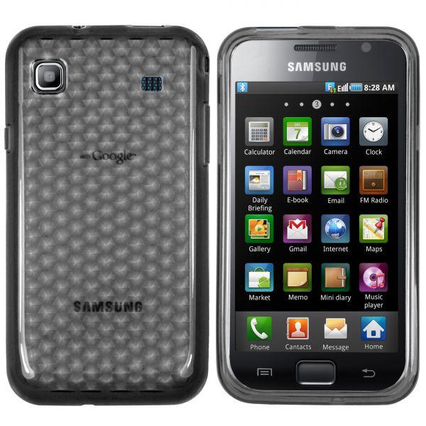 TPU Hülle transparent schwarz Facetteneffekt für Samsung Galaxy S / S Plus