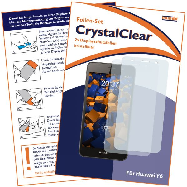 Displayschutzfolie 2 Stck. CrystalClear für Huawei Y6 (2015)