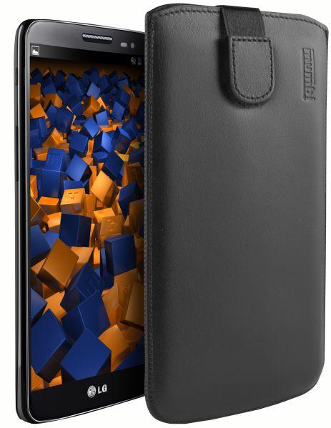Leder Etui Tasche mit Ausziehlasche schwarz für LG G2 Mini