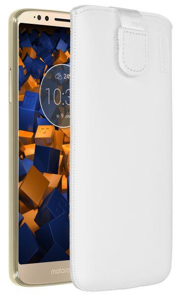 Leder Etui Tasche mit Ausziehlasche weiß für Motorola Moto G6 Play
