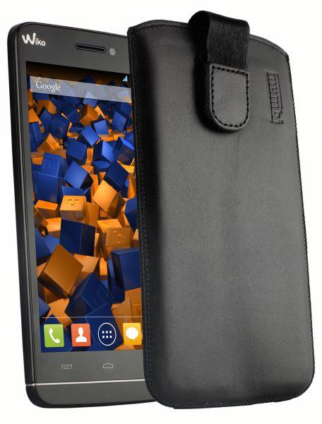 Leder Etui Tasche mit Ausziehlasche schwarz für Wiko Wax
