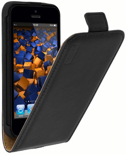 Flip Case Ledertasche schwarz für Apple iPhone 5c