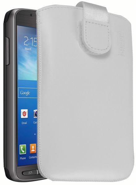 Leder Etui Tasche mit Ausziehlasche weiß für Samsung Galaxy S4 Active