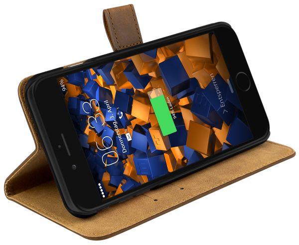 Bookstyle Ledertasche braun für Apple iPhone 8 Plus / 7 Plus