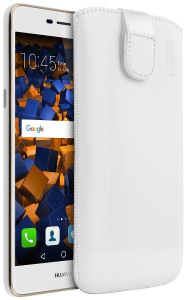 Leder Etui Tasche mit Ausziehlasche weiß für Huawei Y6 (2017)