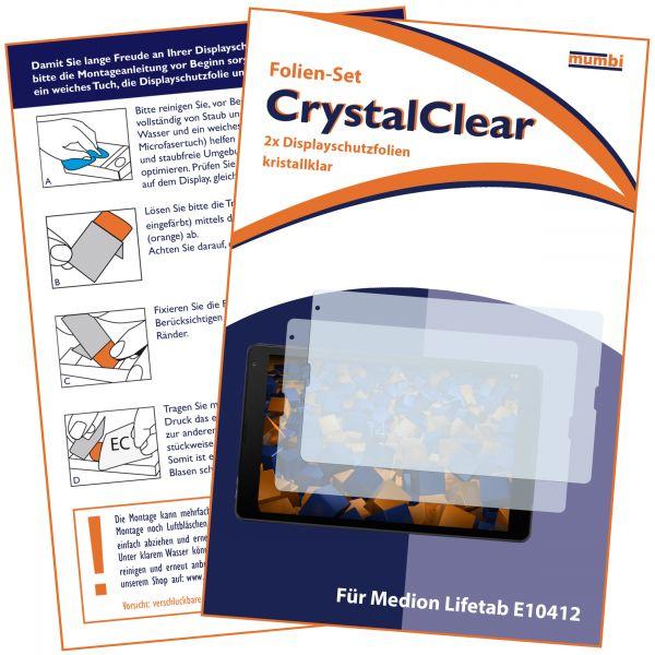 Displayschutzfolie 2 Stck. CrystalClear für Medion Lifetab E10412