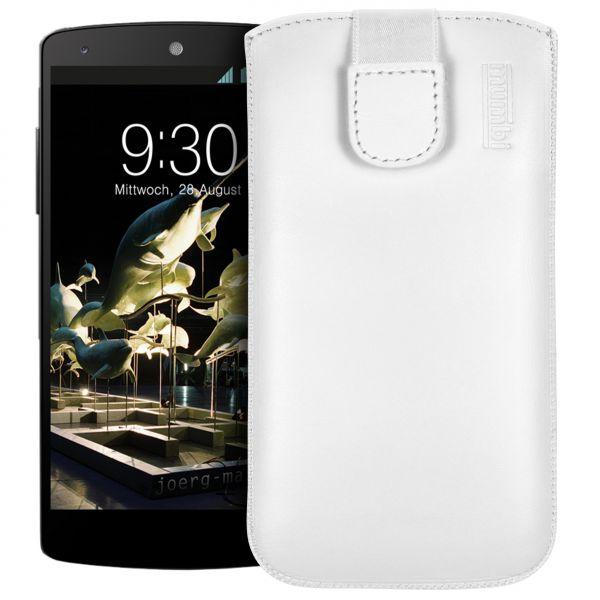 Leder Etui Tasche mit Ausziehlasche weiß für LG Google Nexus 5