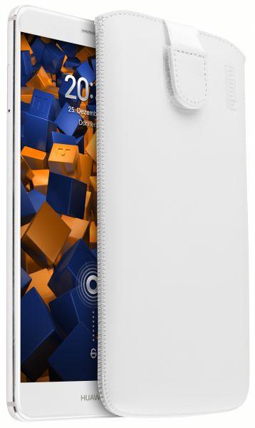 Leder Etui Tasche mit Ausziehlasche weiß für Huawei Mate 9
