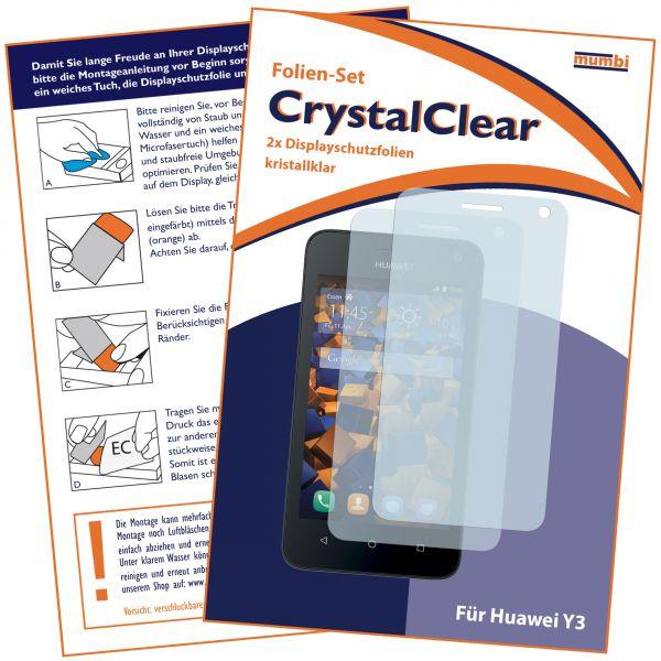 Displayschutzfolie 2 Stck. CrystalClear für Huawei Y3