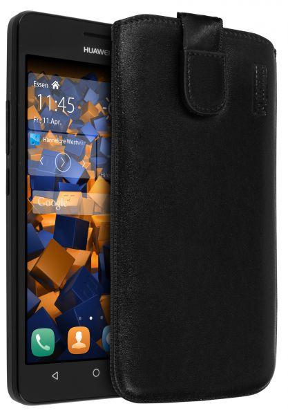 Leder Etui Tasche mit Ausziehlasche schwarz für Huawei Y635