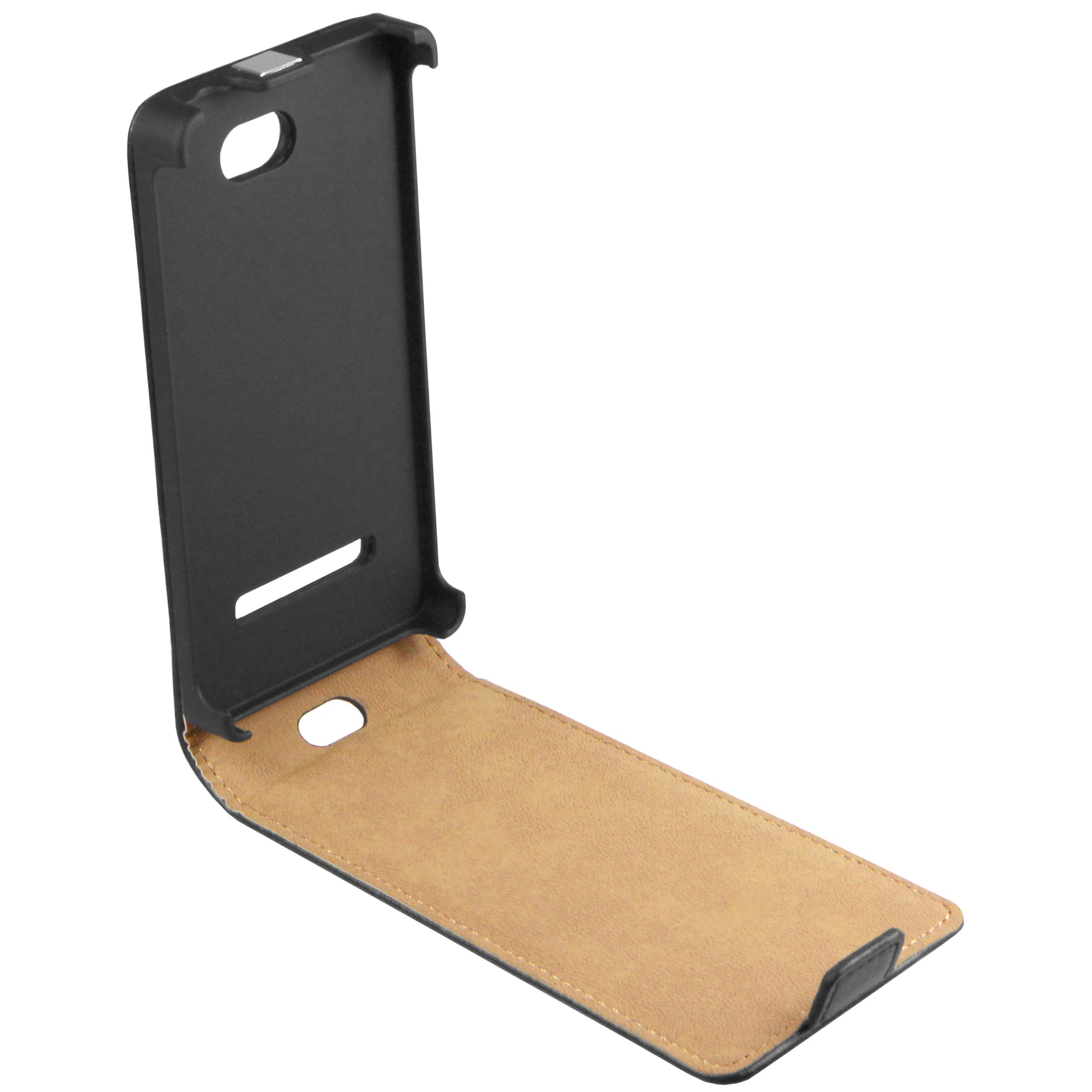 Flip Case Ledertasche schwarz für HTC Windows Phone 8S