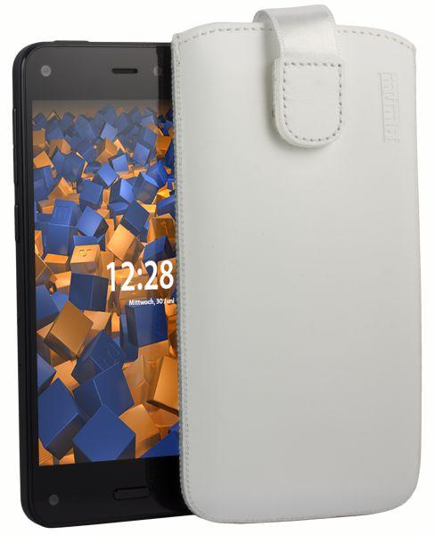 Leder Etui Tasche mit Ausziehlasche weiß für Amazon Fire Phone