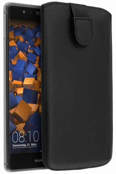 Leder Etui Tasche mit Ausziehlasche schwarz für Huawei P9