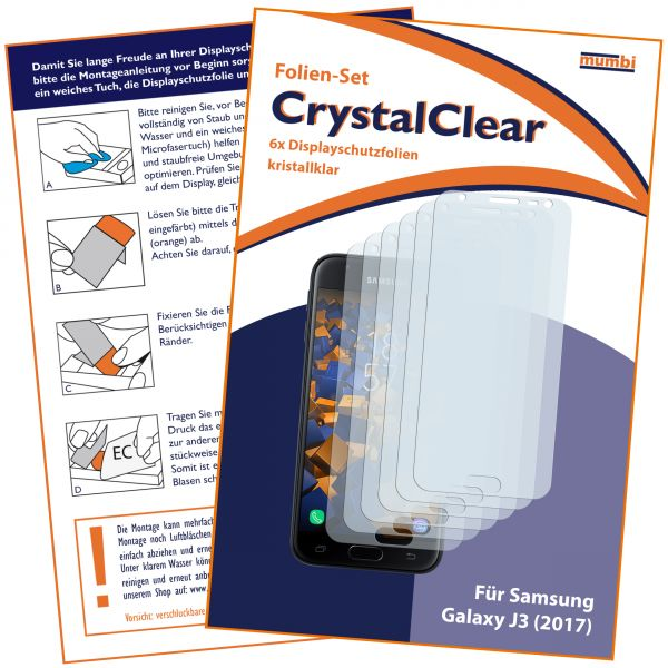 Displayschutzfolie 6 Stck. CrystalClear für Samsung Galaxy J3 (2017)