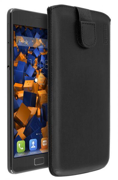 Leder Etui Tasche mit Ausziehlasche schwarz für Lenovo P2