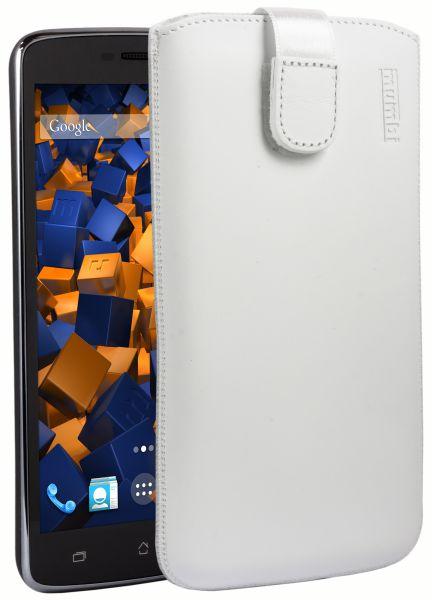 Leder Etui Tasche mit Ausziehlasche weiß für Archos 52 Platinum