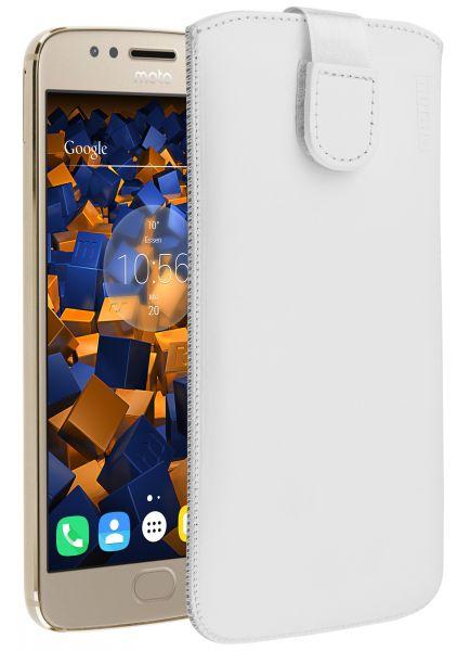 Leder Etui Tasche mit Ausziehlasche weiß für Motorola Moto G5S
