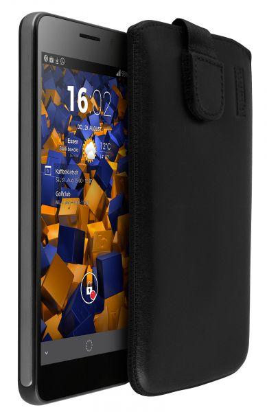 Leder Etui Tasche mit Ausziehlasche schwarz für Huawei Honor 6