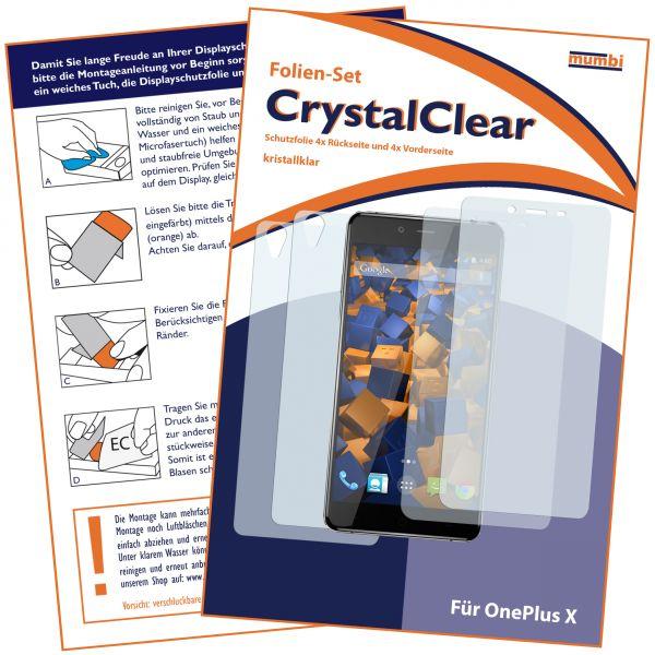 Displayschutzfolie 4 Stck. CrystalClear für OnePlus X (2x vorne + 2x hinten)
