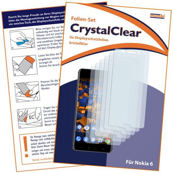 Displayschutzfolie 6 Stck. CrystalClear für Nokia 6 (2017)