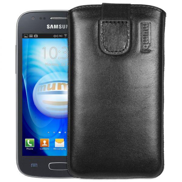Leder Etui Tasche mit Ausziehlasche schwarz für Samsung Galaxy Ace 3