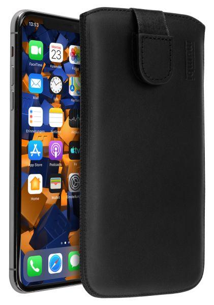 Leder Etui Tasche mit Ausziehlasche schwarz für Apple iPhone 11 Pro Max