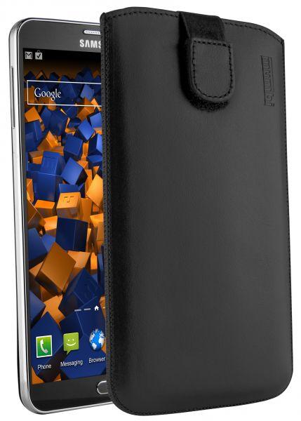 Leder Etui Tasche mit Ausziehlasche schwarz für Samsung Galaxy Note 3 / Neo