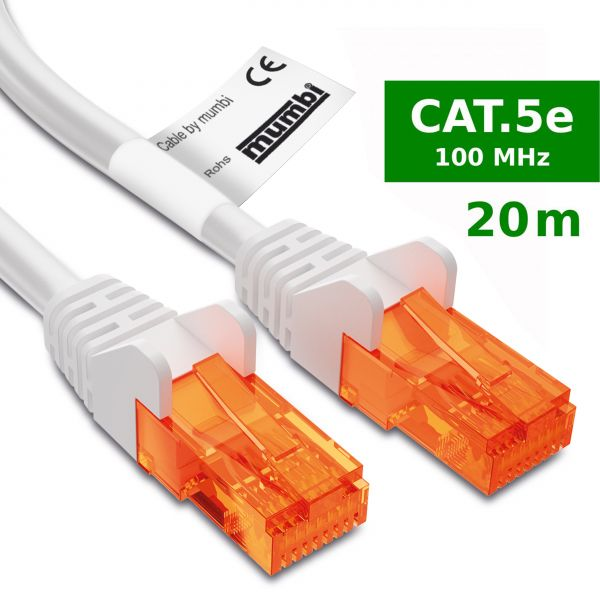 CAT 5e Ethernet Lan Netzwerkkabel 20 Meter Kabel in Weiß